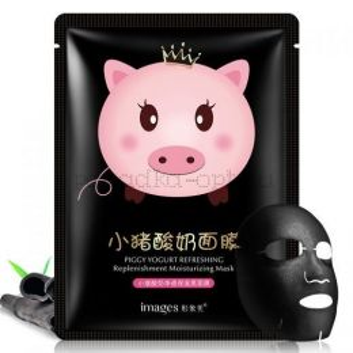 IMAGES Маска - муляж для лица PIGGY YOGURT Black Йогуртовая ХРЮШКА (бамбуковый уголь) 25г