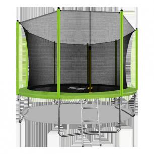 Батут с внутренней страховочной сеткой и лестницей Arland 12FT (Light green)
