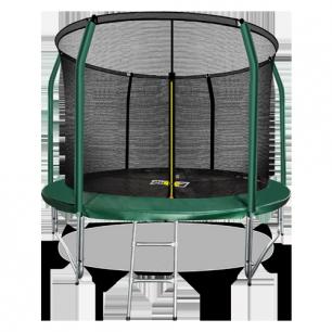 Батут премиум с внутренней страховочной сеткой и лестницей Arland 10FT (Dark green)