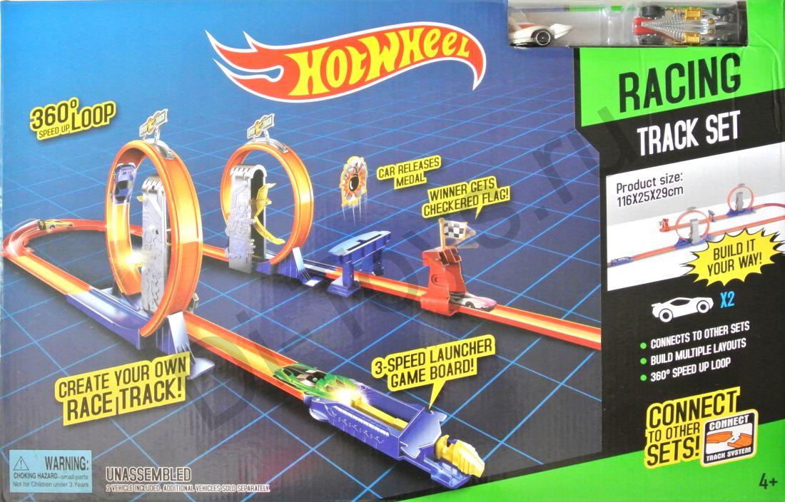 Трек HOT WHEEL опасный поворот с 2-мя промежуточными ускорителями + 2 Машинки