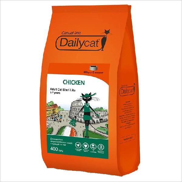 Сухой корм для стерилизованных кошек DailyCat Casual Line Steri Lite Chicken с курицей