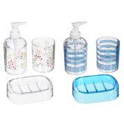 SonWelle Набор для ванной, 3 предмета, прозрачный с рисунком, 2 дизайна, пластик