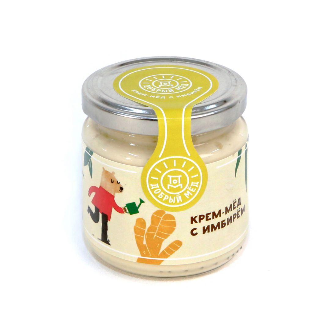 Крем-мед с имбирем 220 гр, стеклянная банка