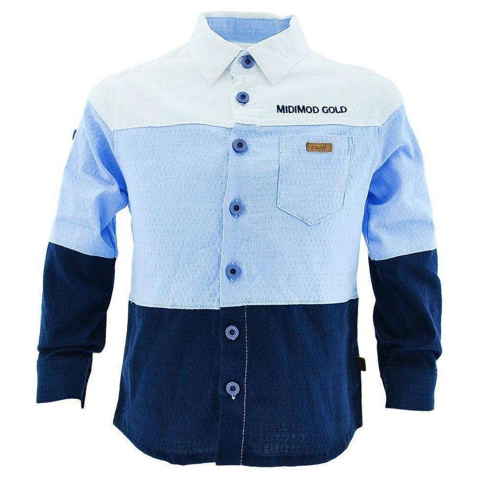 """Рубашка с длинным рукавом """"МIDIMOD GOLD"""" для мальчика 6-12 (белый, голубой, черный)"""