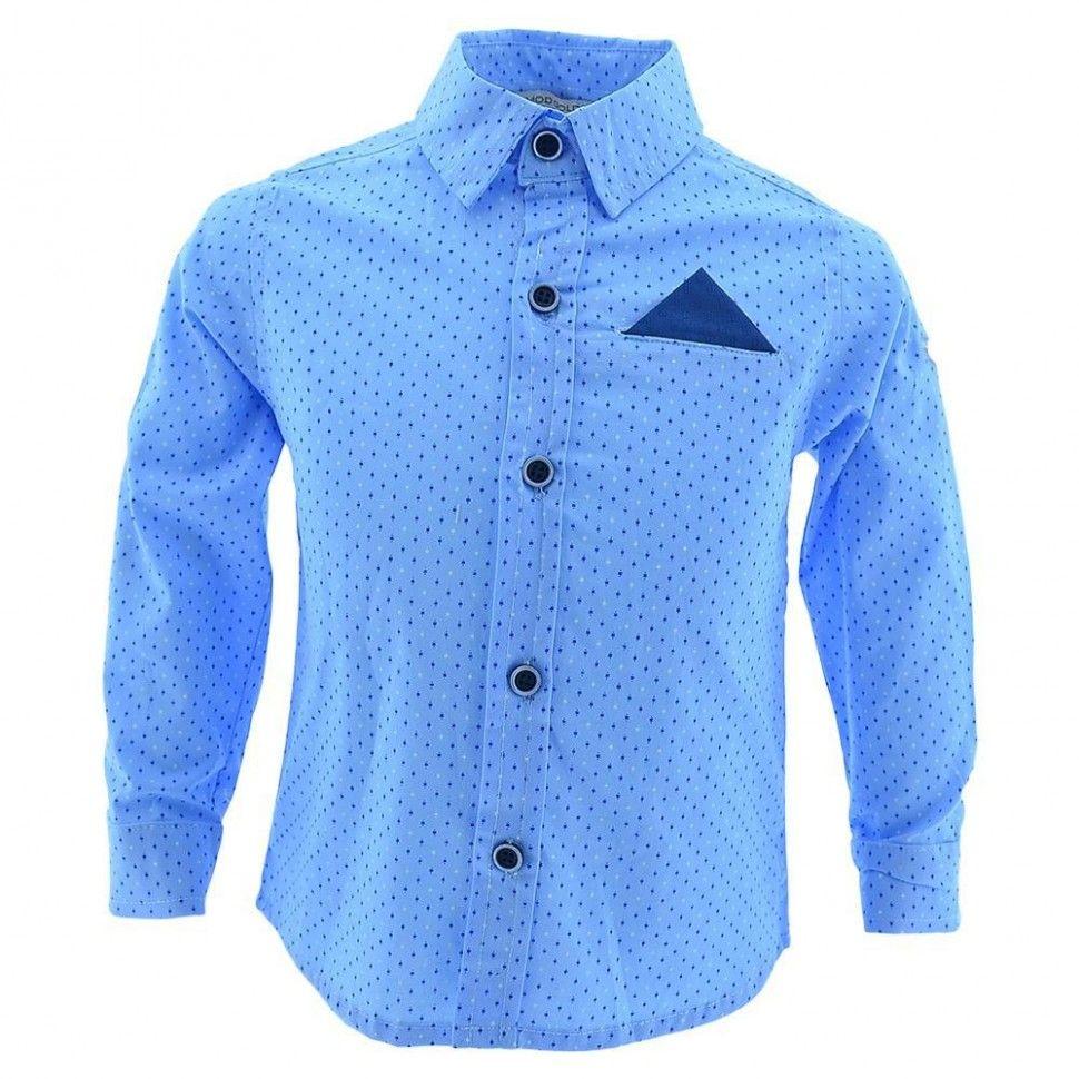 Рубашка с длинным рукавом для мальчика 6-12 (голубой)