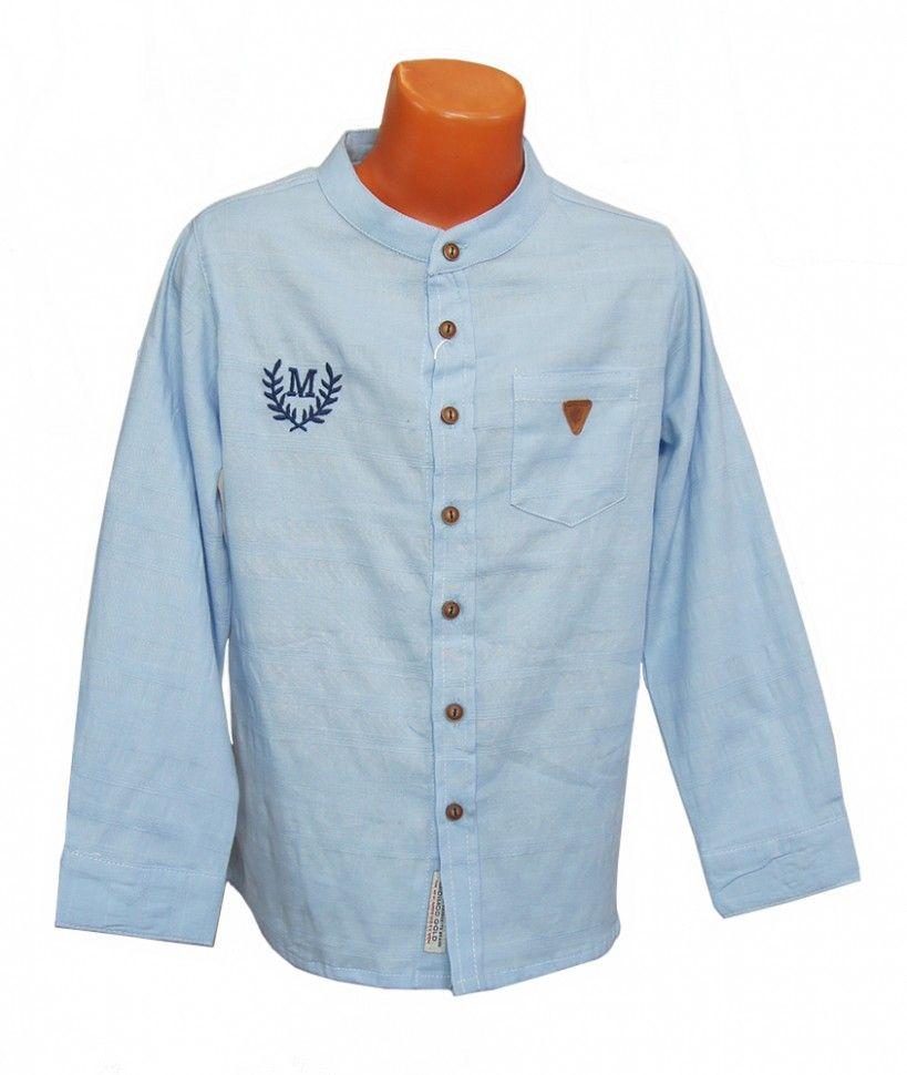 """Рубашка с длинным рукавом """"М"""" для мальчика 6-12 (голубой)"""
