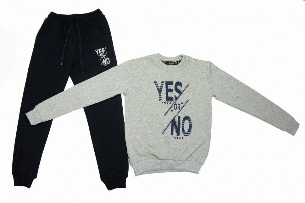 """Спортивный комплект """"YES or NOT"""" для девочки : свитшот, брюки 13-16 лет (серый)"""