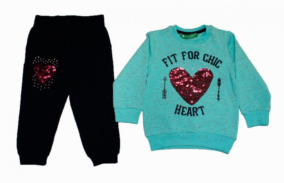 """Комплект спортивный для девочки """"сердце"""": свитшот бирюзовый меланж, брюки синие"""
