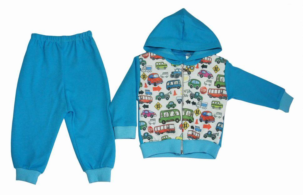 Спортивный костюм для мальчика из 2-х пр. (толстовка, брюки) Голубой
