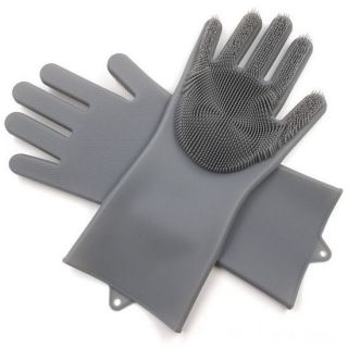 Многофункциональные силиконовые перчатки Magic Brush, Серый