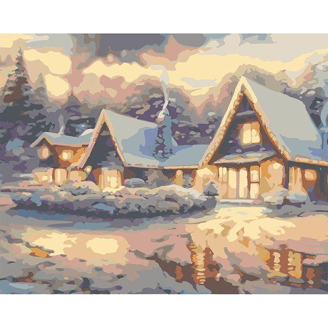 Роспись по холсту Зимний вечер 40х50см