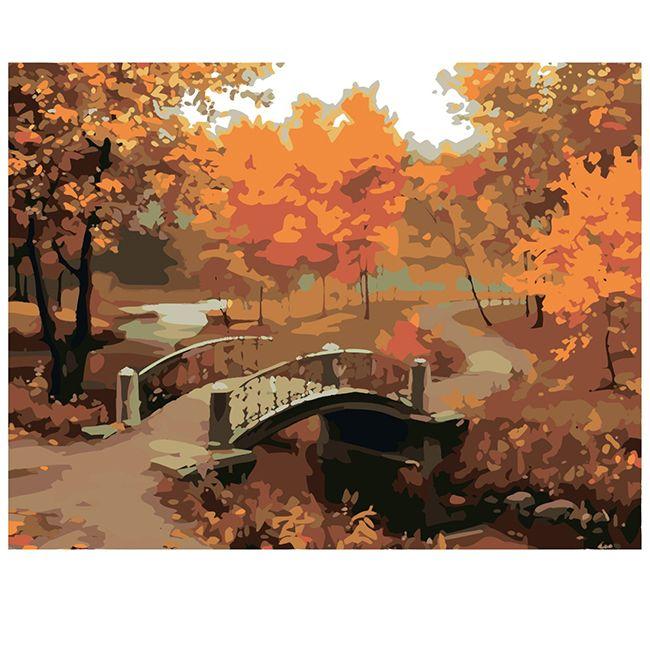 Роспись по холсту Осенний парк 40х50см