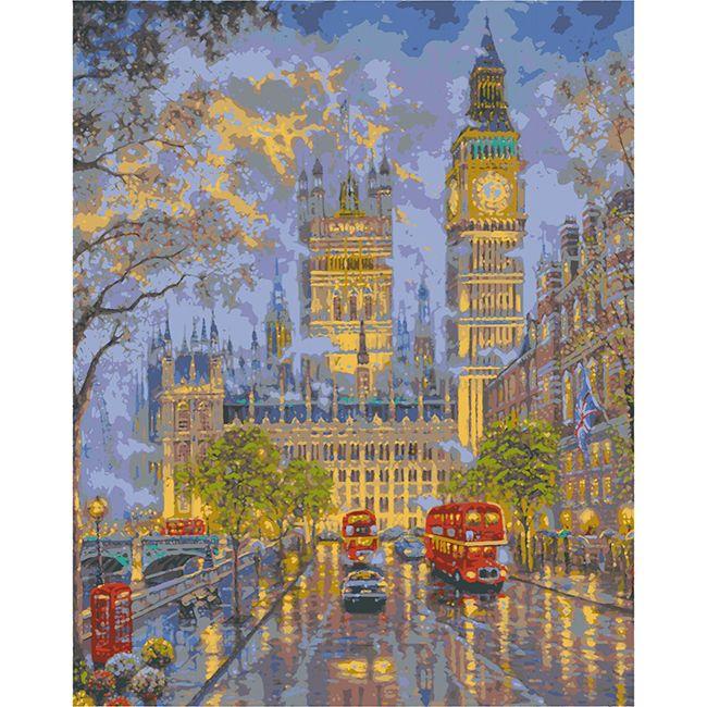 Роспись по холсту Прогулка в Лондоне 40х50см