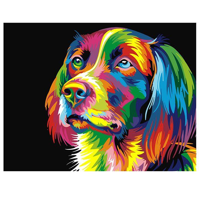 Роспись по холсту Радужная собака 40х50см