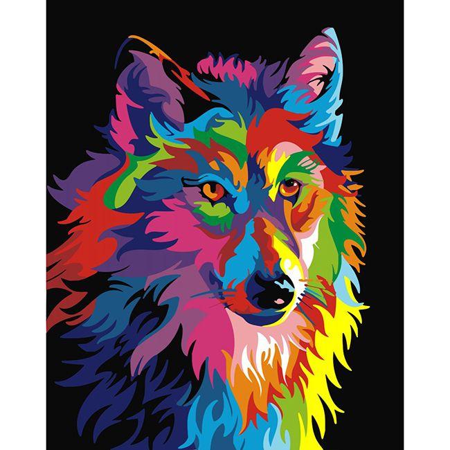 Роспись по холсту Радужный волк 40х50см
