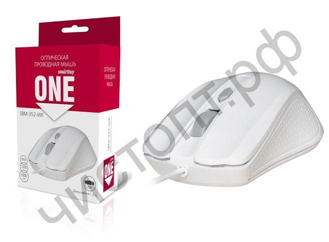 Мышь провод.USB Smartbuy ONE 352 белая (SBM-352-WK)
