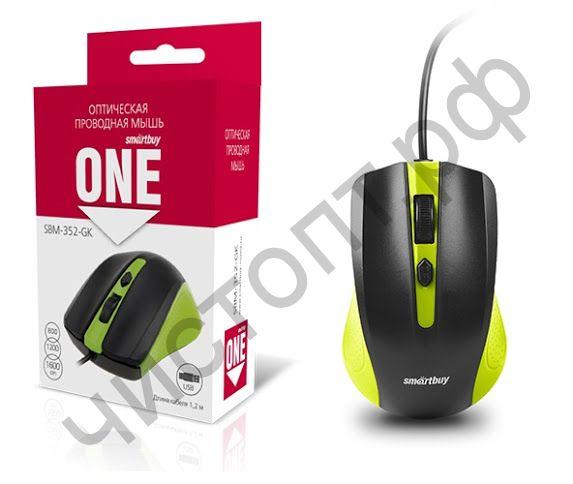 Мышь провод.USB Smartbuy ONE 352 зелено-черная (SBM-352-GK)