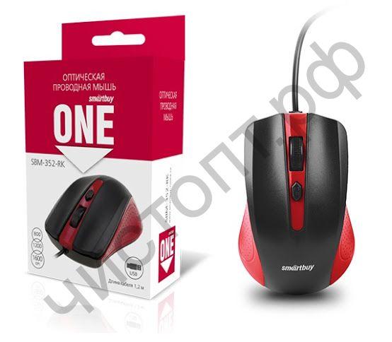 Мышь провод.USB Smartbuy ONE 352 красно-черная (SBM-352-RK)