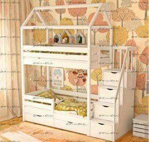 Кровать-домик двухъярусная Домик с лестницей 150196 №В (Блум)