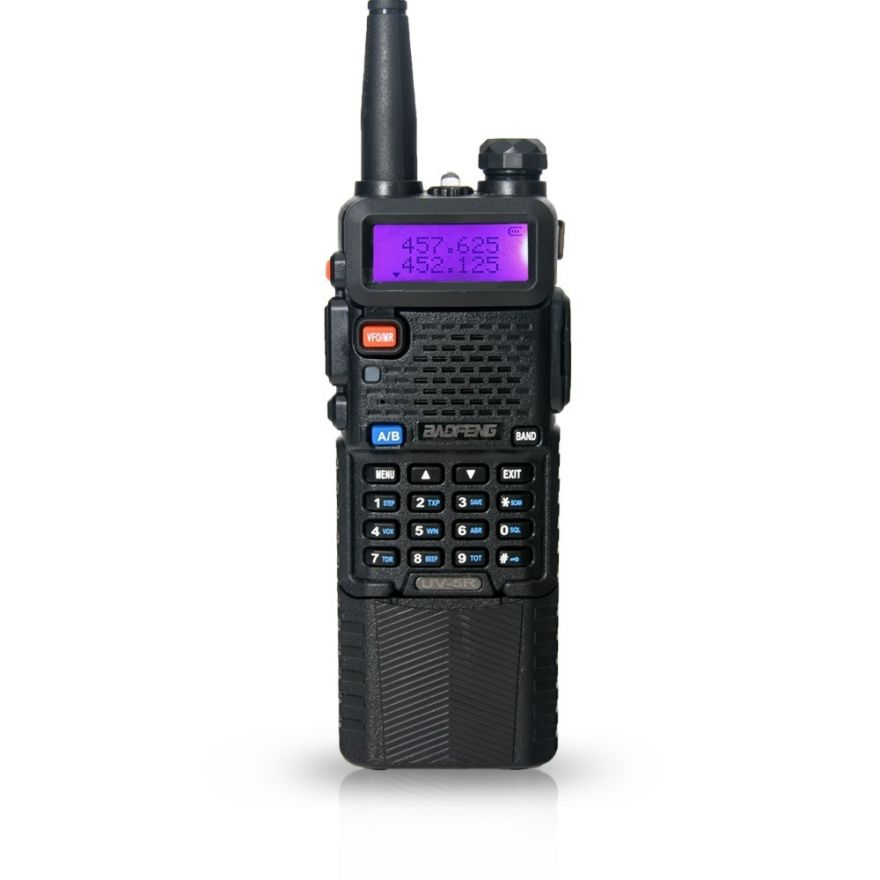 Рация Baofeng UV-5R c увеличенным аккумулятором 3800 мАч (черная) 8 Ватт