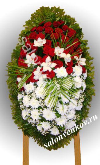 Элитный траурный венок из живых цветов №102, РАЗМЕР 100см,120см,140см,170см