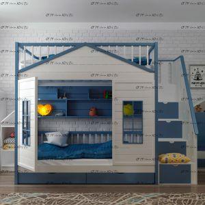 Кровать двухъярусная Домик Шале №KV, любые цвета и размеры