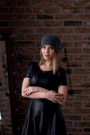 """Кашемировая мягкая классическая тонкая шапка-бини """"Джерси""""  ,темно серый цвет Jersey Hat Mid grey"""