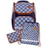 """Рюкзак ранец школьный """"Шотландка"""", 35х26х15 см, голубая, с пеналом и мешком для обуви (арт. 43271)"""