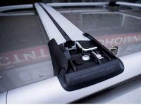 Багажник на рейлинги Opel Antara, FicoPro R-44, серебристый, крыловидные аэродуги