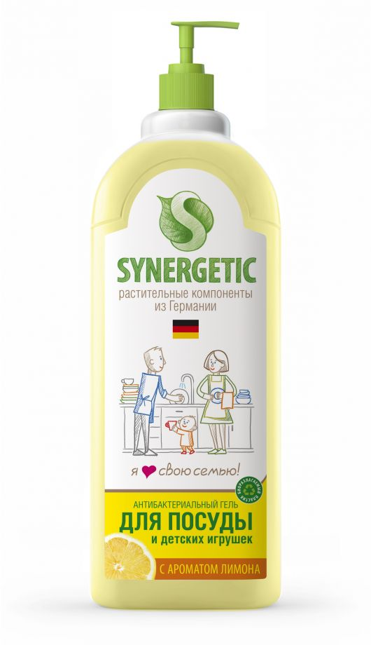 ЭКО Synergetic Средство концентрированное для мытья посуды и фруктов ЛИМОН, флакон, 1 л