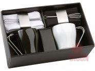 Набор: 2 чашки на 235 мл, 2 салфетки, кольца для салфеток, 2 венчика для взбивания пены (арт. 827308)