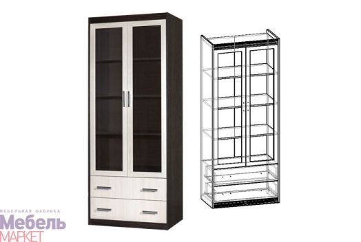 Стенка Амадеус- Шкаф 2-х створчатый с ящиками