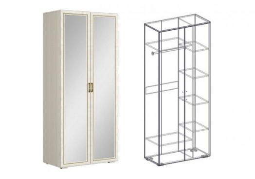 """Шкаф 2х-створчатый комбинированный с зеркалом (440) """"Виктория"""""""