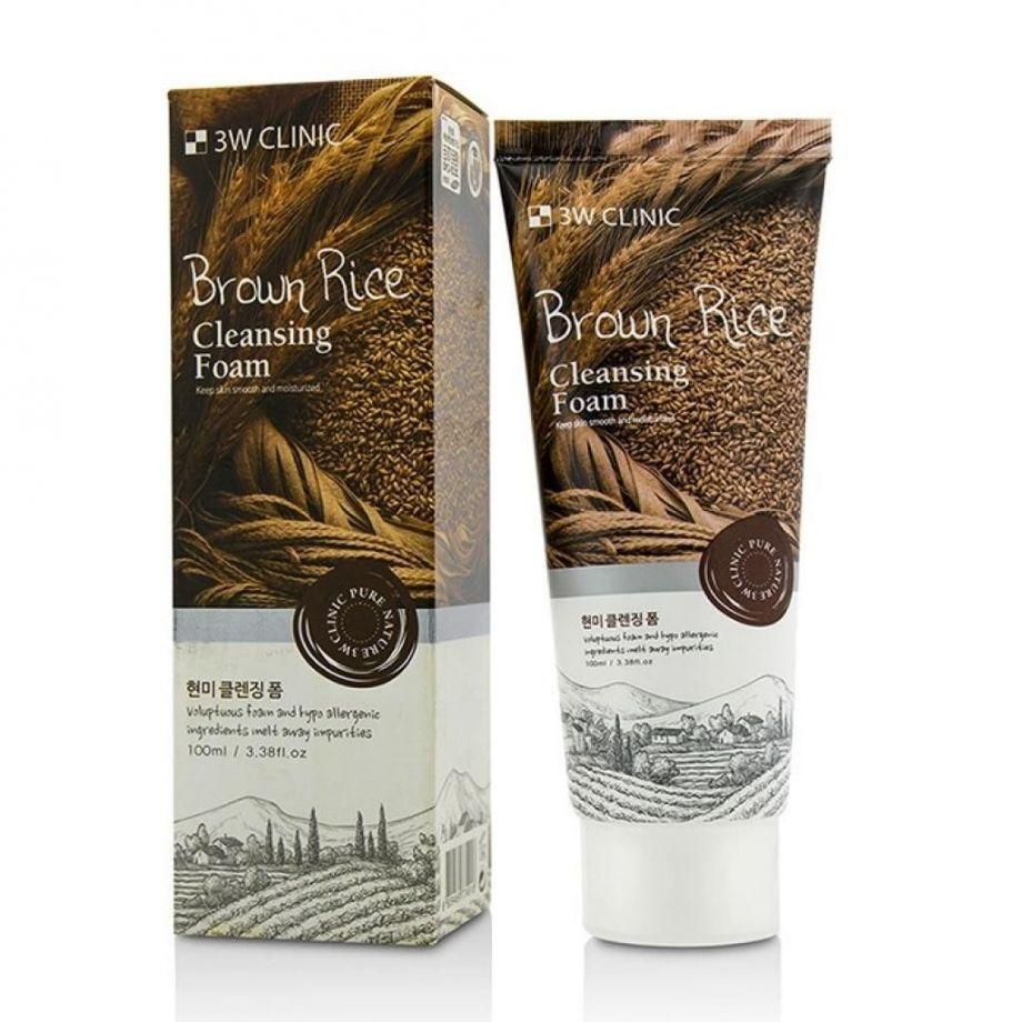 Пенка для умывания натуральная КОРИЧНЕВЫЙ РИС 3W CLINIC Brown Rice Foam Cleansing, 100 мл