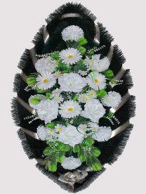 Ритуальный венок из искусственных цветов #20 белый из гвоздик, роз и зелени