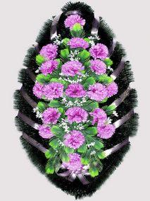 Ритуальный венок из искусственных цветов #3 фиолетовый из гвоздик и зелени