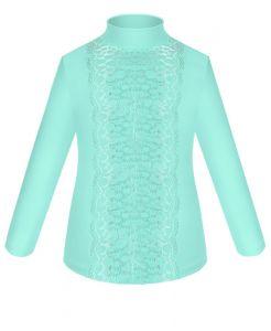 82712-ДШ18 Бирюзовая трикотажная блузка для девочки в школу Радуга-дети