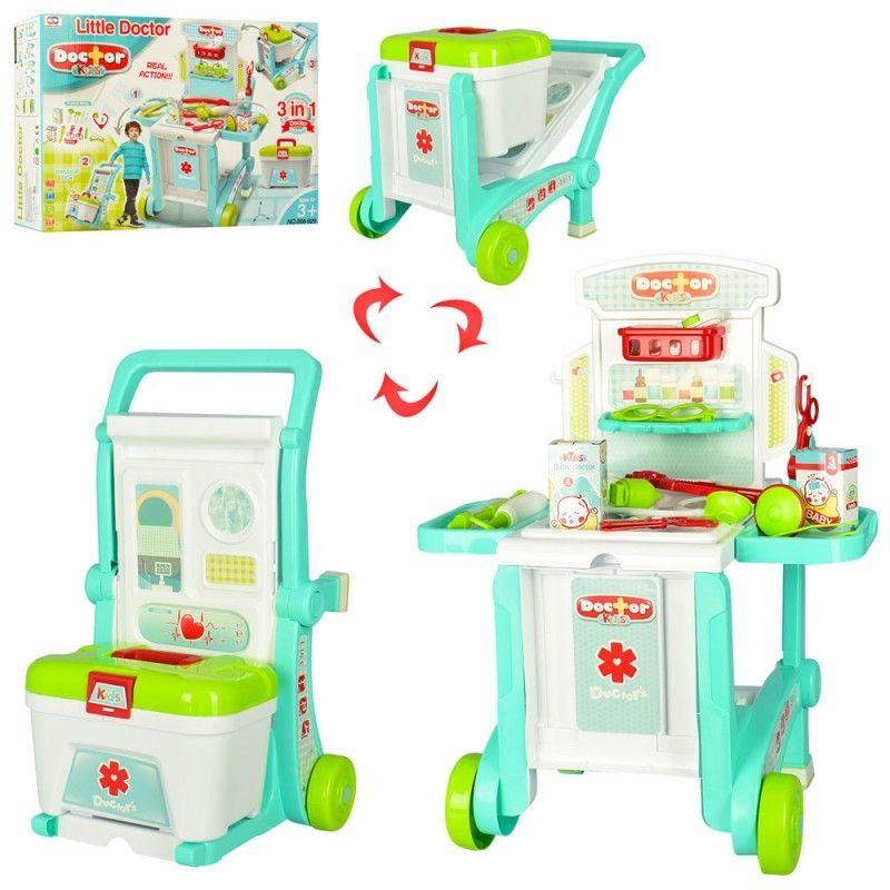 008-929 Игровой набор доктора детский в чемодане на колесиках 3 в 1