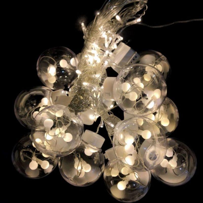 Светодиодная гирлянда-штора в виде ламп, свечение белое теплое