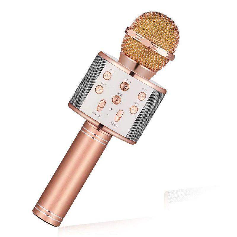 Караоке Микрофон WS-858, Цвет Золотисто-Розовый