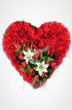 Фото Ритуальный венок Сердце из красных гвоздик, тюльпанов и лилий