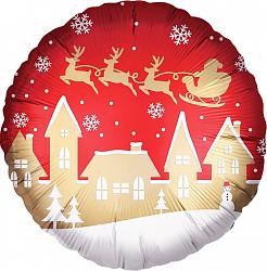 Новогодний сказочный шар фольгированный с гелием