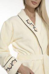 Женский махровый халат Caramele (PM 709) кремовый (фото 5)