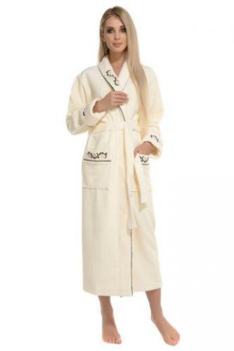 Женский махровый халат Caramele кремовый