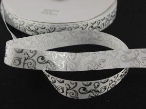 `Лента репсовая с рисунком, ширина 22мм цвет: белый