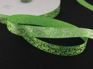 `Лента репсовая с рисунком, ширина 22мм цвет: ярко-зеленый