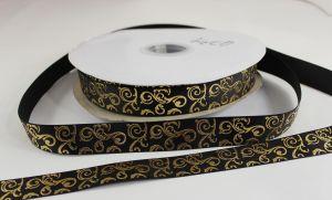 `Лента репсовая с рисунком, ширина 22 мм цвет: черный, Арт. Р-ЛР5655-11