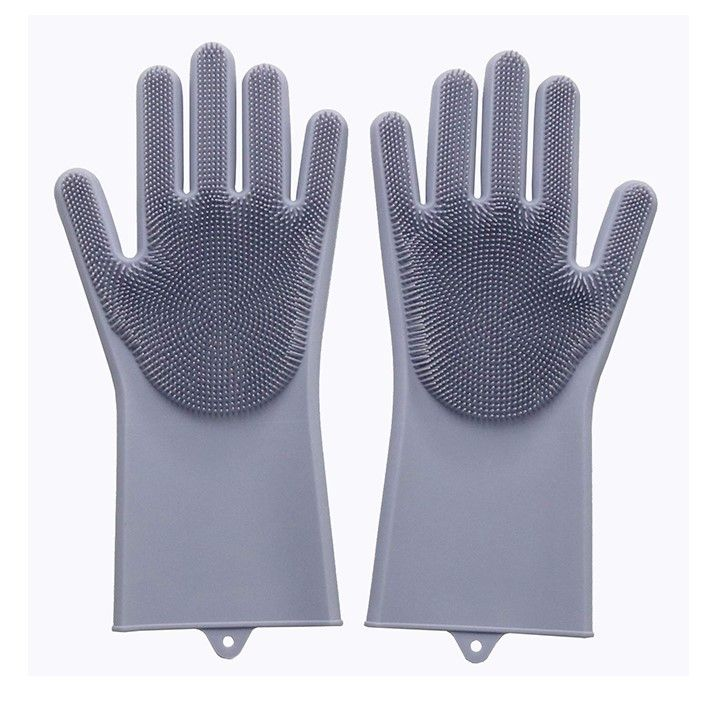Многофункциональные силиконовые перчатки Magic Brush, цвет серый