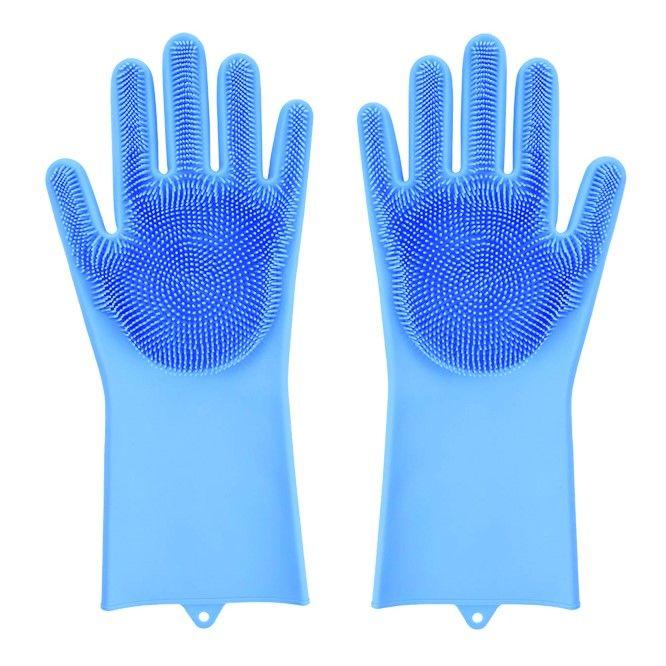 Многофункциональные Силиконовые Перчатки Magic Brush, Цвет Голубой