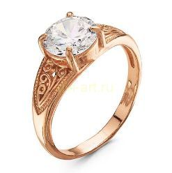 Позолоченное ажурное кольцо с искусственным бриллиантом (арт. 788076)